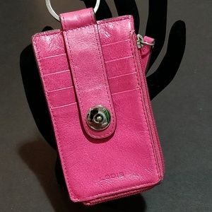 Lodis Pink Leather Key Fob Card Holder